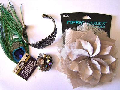 Diy easy wrist corsage for prom candie cooper some ideas are feathers old clip on earrings big silk flowers and sparkle stems like i used in the hair piece yesterday mightylinksfo