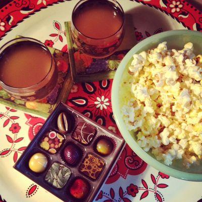 Popcorn chocolate dinner